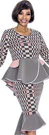 Terramina 7694 - Multi Block Pattern Design Flounce Skirt & Peplum Jacket Set