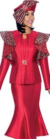 Terramina 7695 - Flared Skirt Outfit With Shoulder Ruffle Jacket Design