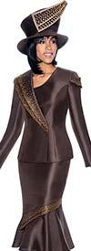 Terramina 7696-Brown - Flounce Skirt Set With Embellished Trim Design