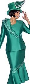 Terramina 7696-Emerald - Flounce Skirt Set With Embellished Trim Design