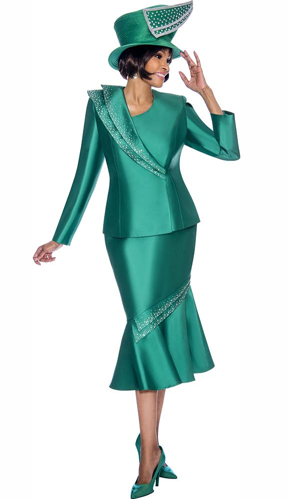 Terramina 7696-Emerald - Flounce Skirt Set With Embellished Trim Design