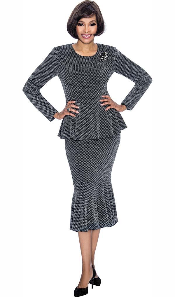 Terramina 7697 - Metallic Silver Flounce Skirt Outfit With Peplum Jacket