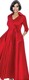 Terramina 7698-Red - Long Pleated Church Dress With Sash