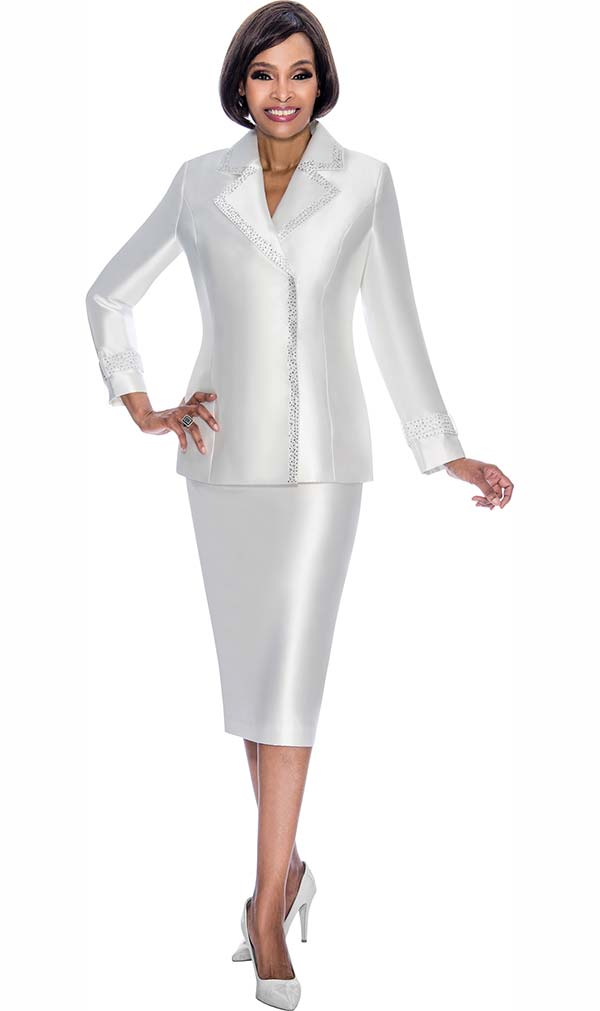 Terramina 7700-Pearl - Skirt Suit With Embellished Trim Notch Lapel Jacket
