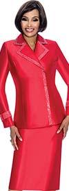 Terramina 7700-Red - Skirt Suit With Embellished Trim Notch Lapel Jacket
