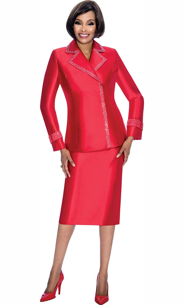 Terramina 7700-Red - Skirt Suit With Embellished Trim Notch Lapel Jacket