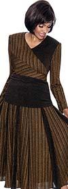 Terramina 7701-Bronze - Multi Stripe Design Accordion Pleat Skirt Set