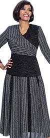 Terramina 7701-Silver - Multi Stripe Design Accordion Pleat Skirt Set