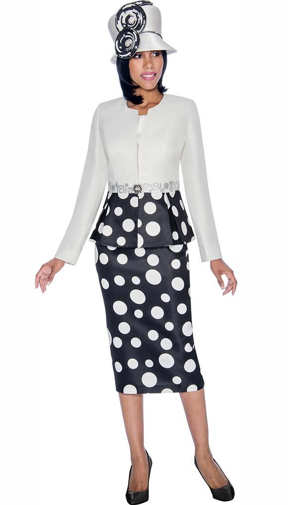 Terramina 7702 - Three Piece Polka Dot Print Skirt Suit