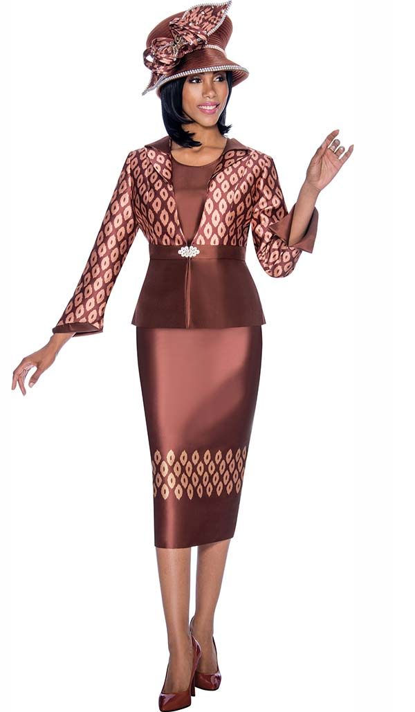 Terramina 7703 - Printed Design Church Skirt & Jacket Set