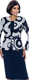 Terramina 7704 - Jewel Neckline Dress With Print Jacket Design