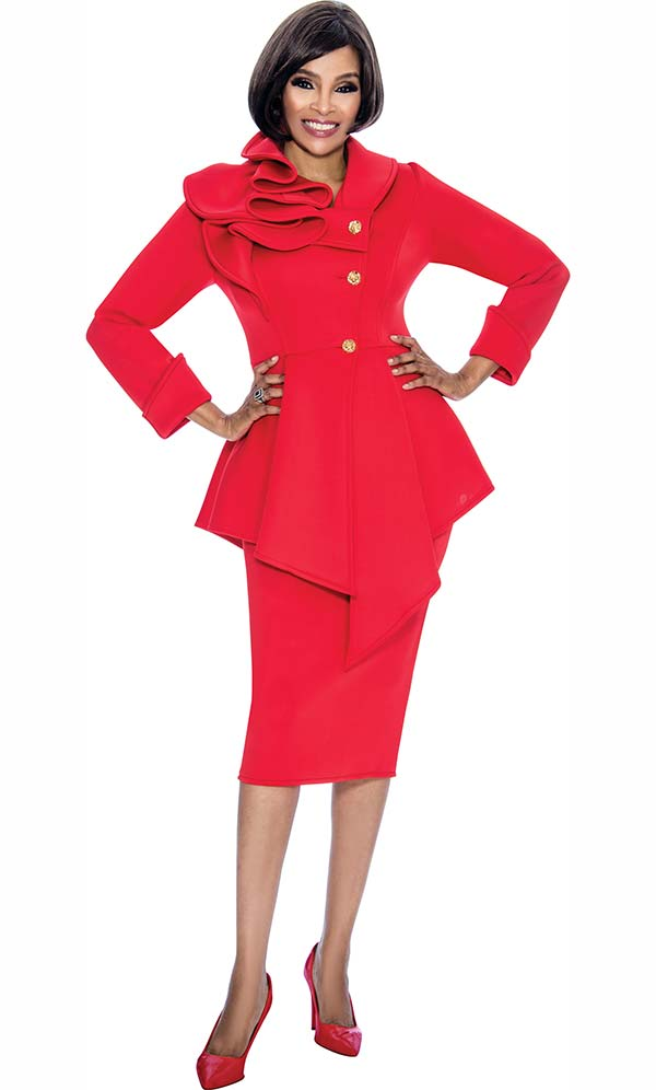 Terramina 7705-Red - Skirt Suit With Asymmetric Style Jacket With Shoulder Ruffle Design