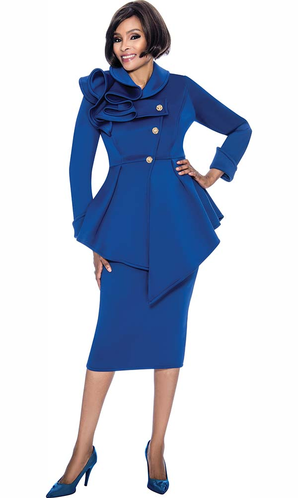 Terramina 7705-Royal - Skirt Suit With Asymmetric Style Jacket With Shoulder Ruffle Design