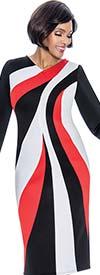 Terramina 7706 - Multi Color Print Design Scuba Fabric Dress With Bell Cuff Sleeves