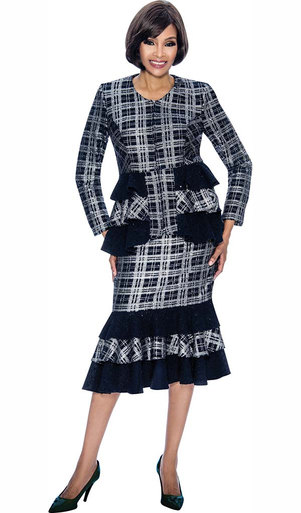 Terramina 7708 - Layered Flounce Skirt Outfit With Ruffle Design Jacket