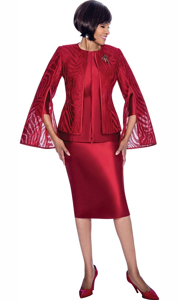 Terramina 7709-Cranberry - Church Suit With Skirt & Layered Angel Sleeve Jacket