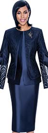 Terramina 7709-Navy - Church Suit With Skirt & Layered Angel Sleeve Jacket