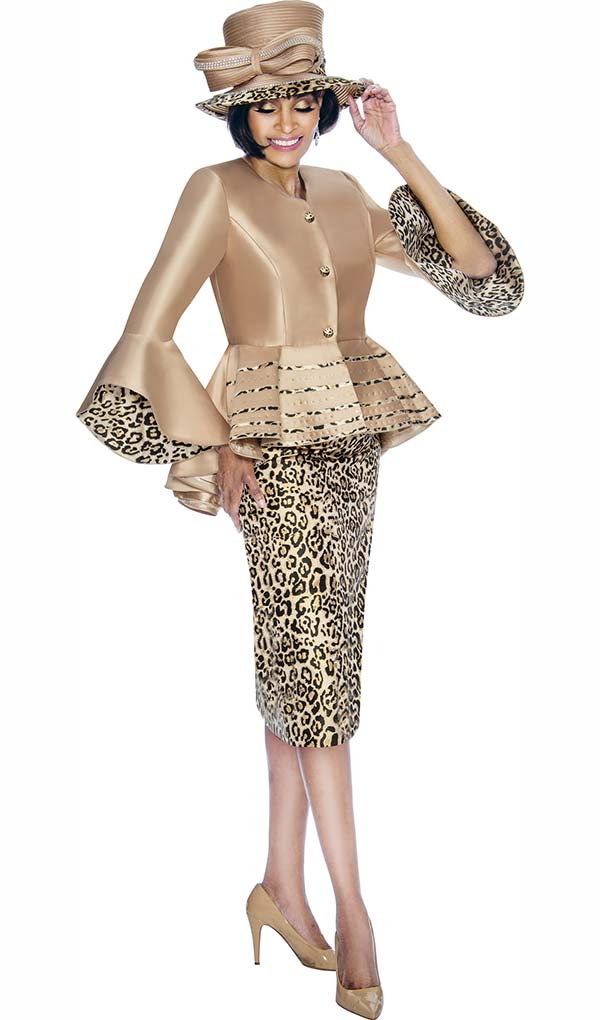 Terramina 7710 - Leopard Print Skirt Suit With Bell Cuff Sleeve Peplum Jacket Design