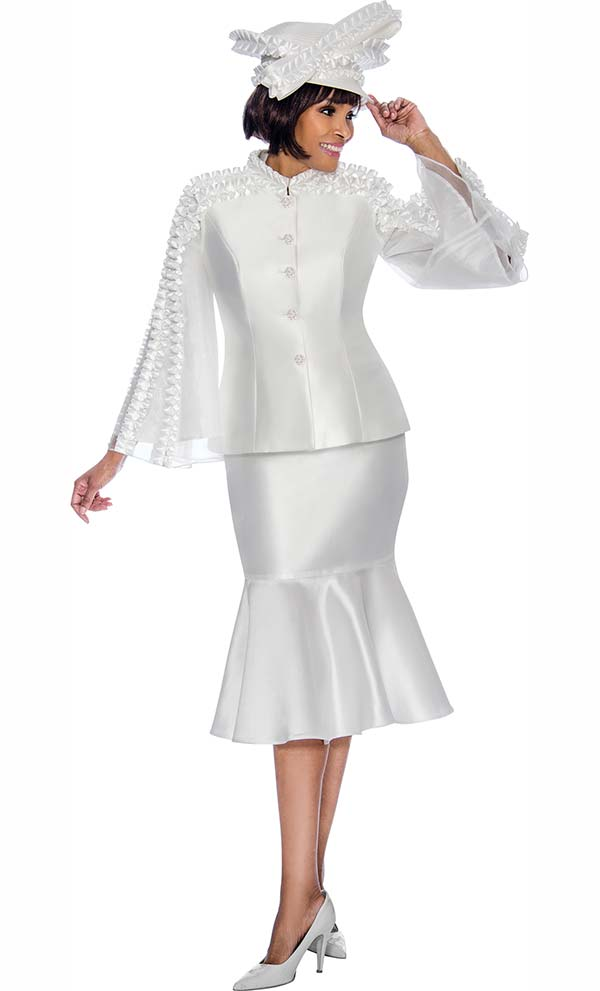 Terramina 7712-Pearl - Flounce Skirt Set With Intricate Trim Design Angel Sleeve Jacket