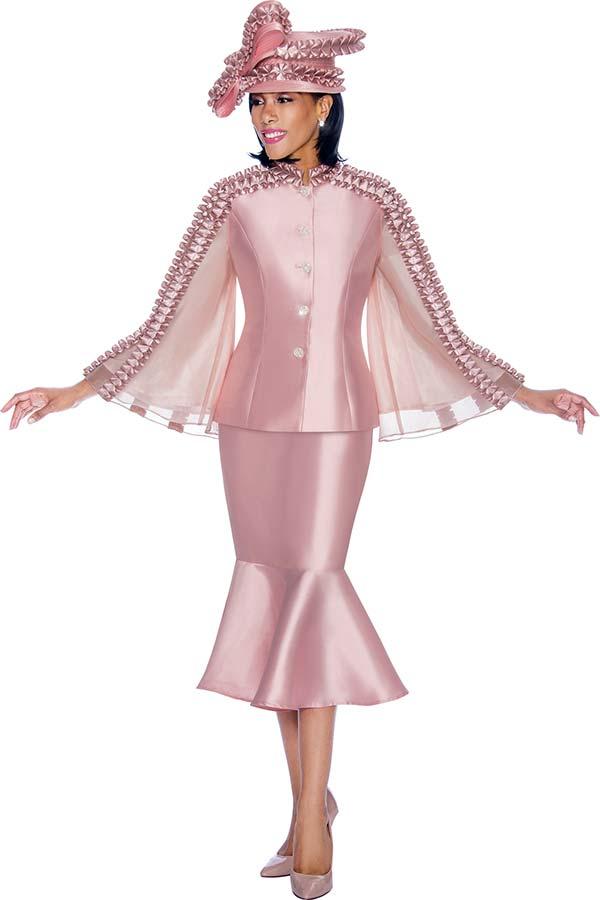 Terramina 7712-Rose - Flounce Skirt Set With Intricate Trim Design Angel Sleeve Jacket