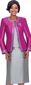 Terramina 7637-Fuchsia - Womens Church Suit With Embellished Trim On Jacket