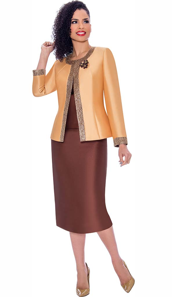 Terramina 7637-Gold - Womens Church Suit With Embellished Trim On Jacket