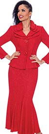 Terramina 7656 Flared Skirt Suit With Layered Collar And Two Button Jacket