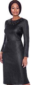 Terramina 7714-Black - Grid Pattern Dress And Jacket Set With Cape