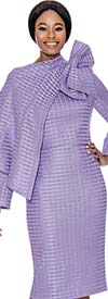 Terramina 7714-Lilac - Grid Pattern Dress And Jacket Set With Cape