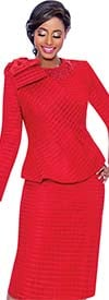 Terramina 7714-Red - Grid Pattern Dress And Jacket Set With Cape