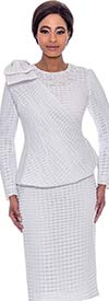 Terramina 7714-White - Grid Pattern Dress And Jacket Set With Cape
