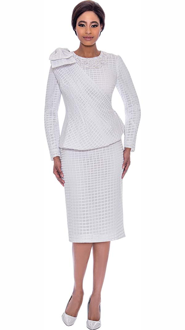 Terramina 7714-White - Grid Pattern Dress And Jacket Set With Cape
