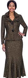 Terramina 7723-Black - Embellished Flared Skirt Suit With Layered Collar And Two Button Jacket
