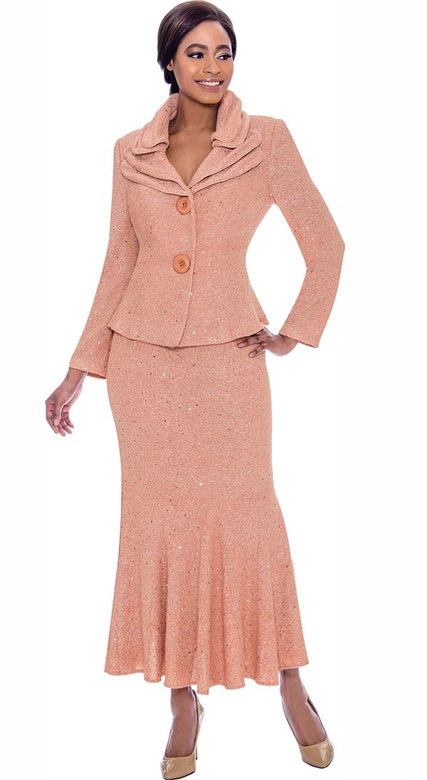 Terramina 7723-Salmon - Embellished Flared Skirt Suit With Layered Collar And Two Button Jacket