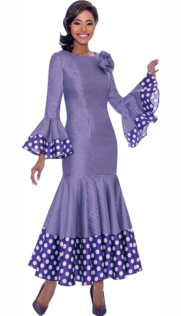 Terramina 7724-Purple - Pleated Drop Waist Dress With Polka Dot Trims And Bell Cuffs