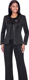 Terramina 7728 Womens Three Piece Pant Suit With Brooch