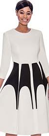 Terramina 7761 Two Tone Fit-n-Flare Dress In Scuba Fabric