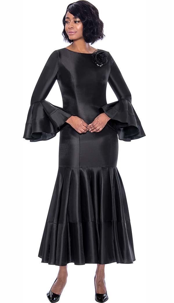 Terramina 7764-Black - Pleated Drop Waist Dress With Flounce Sleeves