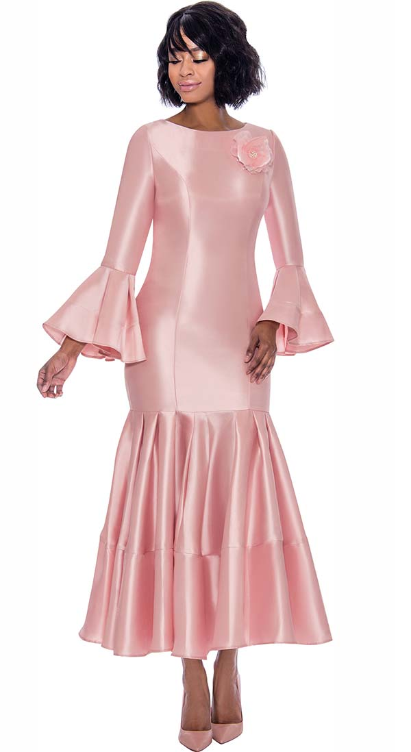 Terramina 7764-Rose - Pleated Drop Waist Dress With Flounce Sleeves