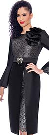 Terramina 7771-Black - Ruffle Adorned Ladies Church Dress With Lace Insets And Bodice