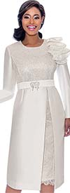 Terramina 7771-Pearl - Ruffle Adorned Ladies Church Dress With Lace Insets And Bodice