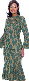 Terramina 7772 Flounce Hem Skirt Suit With Cowl Neckline In Split Sphere Pattern Print