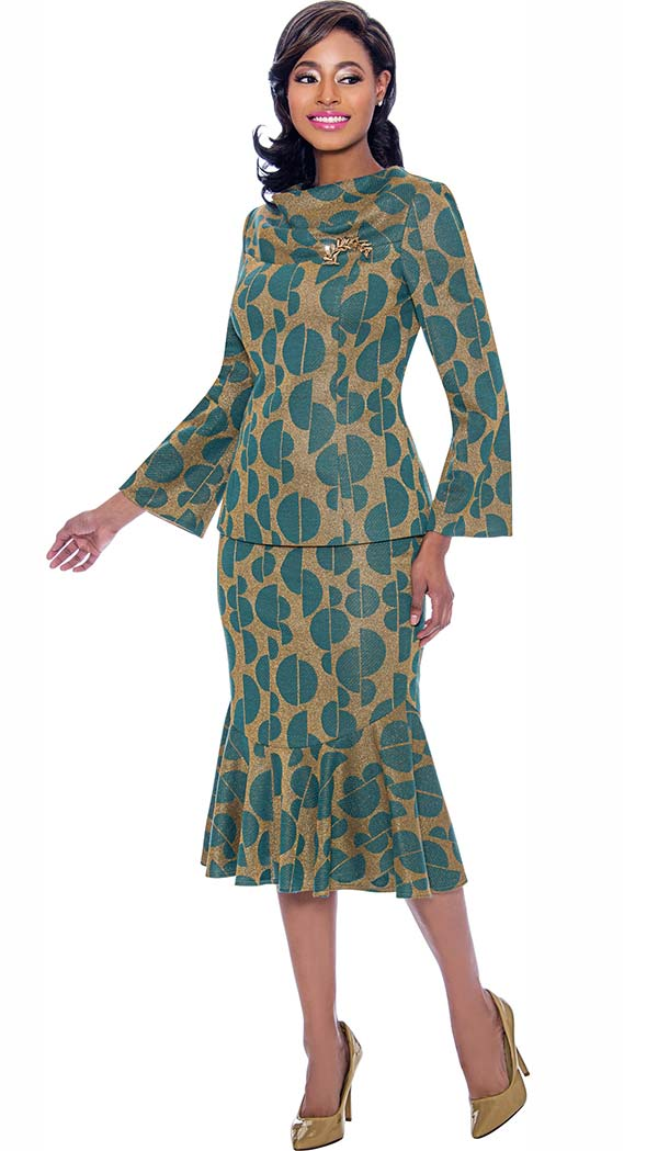 Terramina 7772 Flounce Hem Skirt Suit With Cowl Neckline In Split Sphere Pattern Print