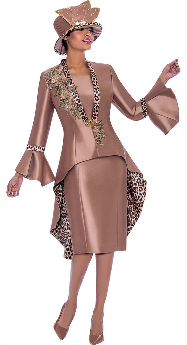 Terramina 7773 - Skirt Suit With Floral Applique Leopard Print Accented Bell Cuff High Low Jacket