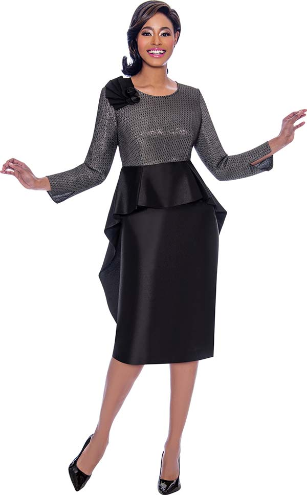 Terramina 7774 Two Tone Dress With High Low Peplum Waist Accent And Shoulder Ruffle