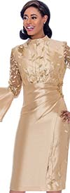 Terramina 7775-Gold - Bell Sleeve Dress With Delicate Leaf Applique And Ruched Effect Design