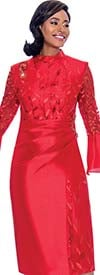 Terramina 7775-Red -Bell Sleeve Dress With Delicate Leaf Applique And Ruched Effect Design