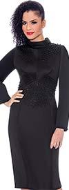 Terramina 7776-Black - Embellished Bell Sleeve Roll Collar Dress In Scuba Fabric