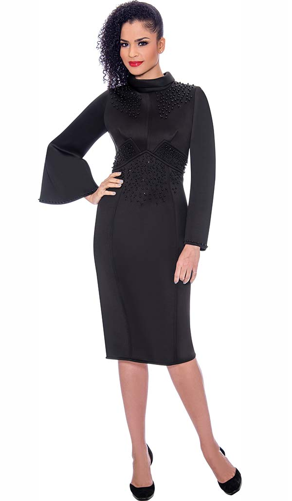 Terramina 7776-Black - Embellished Bell Sleeve Roll Collar Dress In Scuba Fabric