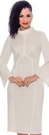 Terramina 7776-Ivory - Embellished Bell Sleeve Roll Collar Dress In Scuba Fabric